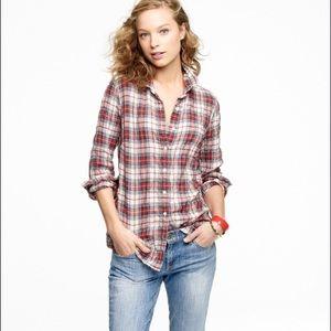 J.Crew Perfect shirt in ivory tartan / Sz 6
